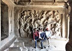 Mamallapuram, Tamil Nadu - Mahishamardini Mandapa - Carvings & Visitors (zorro1945) Tags: mamallapuram mahabalipuram tamilnadu india inde asia asie mahishamardinimandapa cavetemple carvings reliefwallpanel durga hindugoddess hinduism