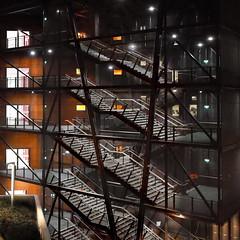 iron stairs (heinzkren) Tags: stiege ausgang eingang treppe exit stufe notausgang building gebäude architektur architecture emergencyexit ricoh wien vienna austria wu treppenhaus abgang aufgang rising leaving color construction