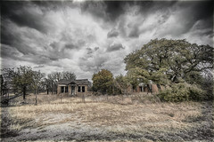 Abandoned Home (Laura Lee Cobb) Tags: abandoned old broken house home beautiful stillstanding weathered weather stormy fixerupper charming spooky eerie haunted haunting creepy empty space yard grassy texas ruraldecay beautifulplaces hiking travel roadside neighbors keepout
