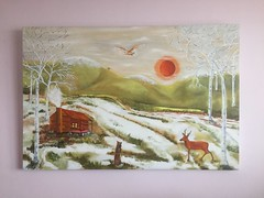 New painting called St Francis of Assisi. (nicholas marsh) Tags: dyslexia catholic downs owl stfrancisofassisi francis epochal cathartic yourtube instagram facebook society6com forsale sun snow landscape cabin log monk deer painting oil paintingoil italy famous artist nicholasmarsh stfrancis assisi