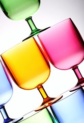 Bright Pastels (Karen_Chappell) Tags: pastel white pink yellow green blue glass glasses stack balance tilt product stilllife multicoloured colourful colours colour color abstract