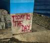 Zombie Apocalypse? (Katrina Wright) Tags: img1095 zombieapocalypse graffiti redpaint ominous concrete sign warning