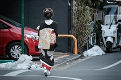 There are still patches of snow in Tokyo (Rekishi no Tabi) Tags: tokyo japan asakusa geisha snow winter fujifilm xpro2