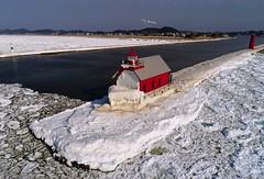 Winter in Grand Haven (1 25 2018) (PhotoDocGVSU) Tags: grandhaven lakemichigan winter aerialphotography drone phantom4pro ice greatlakes