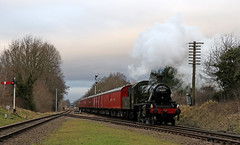Fast train approaching (Andrew Edkins) Tags: 46521 lms ivatt blossom greatcentralrailway gcr preservedrailway semaphoresignals quornandwoodhouse tpo parcels railwayphotography speed leicestershire quorndon january 2018 light afternoon steamtrain steamgala england uksteam canon geotagged trees clouds overcast