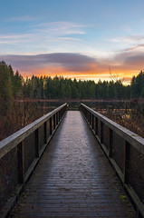 Dawn on the Dock (s.d.sea) Tags: issaquah sammamish washingtonstate washington bridge path walkway dock boardwalk perspective sunrise pnw pacificnorthwest yellow lake klahanie winter morning dawn pentax k5iis wide angle 15mm landscape