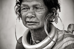 Gadaba Kondh (Ditisit) Tags: gadaba kondh orissa india portrait bw woman tribe female old necklace earrings famous