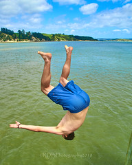 Pahi Beach 127 (C & R Driver-Burgess) Tags: teen young boy girls leap jump harbour wharf sea kaipara brother sister girlfriend nephew niece son daughter shorts halter top green blue clear sky sunny summer splash