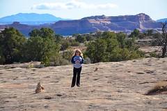 Sue On The Pothole Point Trail (Joe Shlabotnik) Tags: justsue nationalpark utah sue hiking 2017 canyonlands november2017 canyonlandsnationalpark afsdxvrzoomnikkor18105mmf3556ged