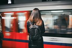 Metro (ewitsoe) Tags: train metero underground woman standing waiting listenigntomusic speed rush warsaw warszawa poland polska backpack commuting commuter pedestrian colorful canon eos 6dii 50mm street urban