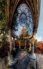Panorama 3498_blended_fused_pregamma_1_mantiuk06_contrast_mapping_0.1_saturation_factor_0.8_detail_factor_1 small (bruhinb) Tags: panorama hdr longwood kennettsquare pa usa longwoodgardens gazebo largelake autumn