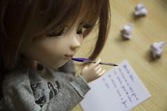 Dear John... (Erla Morgan) Tags: doll pullip pullipsouseiseki souseiseki souki erlamorgan 52dollyweekproject 52weeksproject week3 writingonapaper groove junplanning obitsu wig pen paper writing