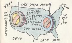 The Yoyo Base - Pueblo, Colorado (73sand88s by Cardboard America) Tags: qsl cb cbradio vintage qslcard yoyo united states colorado