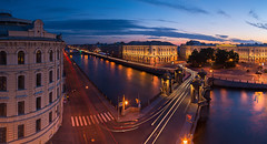 Above Peter | St. Petersburg, Russia (v on life) Tags: stpetersburg saintpetersburg russia canal river sunset pano panorama panoramic clouds cars lighttrail longexposure cartrail cartrails санктпетербург россия питер architecture buildings night bluehour