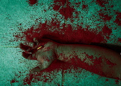 SOME EFFORTS FAIL (Greyson Rose) Tags: dark macabre blood read red hand dramatic bullet yellow people