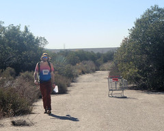 017 Gone Shopping (saschmitz_earthlink_net) Tags: 2018 california orienteering irwindale losangelescounty santafedam santafedamrecreationarea laoc losangelesorienteeringclub dirt road brush bush dam shoppingcart participant