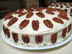 Hummingbird Cake And Pecans. (dccradio) Tags: lumberton nc northcarolina robesoncounty indoors inside cake icing frosting dessert nuts pecan pecans frosted treat sweet hummingbirdcake round circular circle kitchen canon powershot elph 520hs