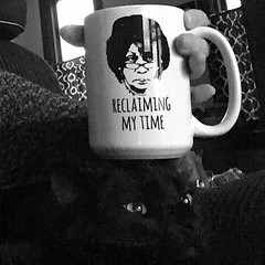 RECLAIMING MY TIME ☕️ 🐈 (anokarina) Tags: appleiphonese highlands louisville kentucky ky adobephotoshopexpress psmobile colorsplash monochrome grey grayscale bw blackwhite animal blackcat kitty kitten pet coffee mug cup eyes 🐈