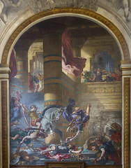 Eguene Delacroix's mural of Heliodorus Driven from the Temple in the Chapel of Guardian Angels in the Church of Saint-Sulpice in Paris, France (thstrand) Tags: 1850 1850s 1860 1860s 19thcentury 6tharrondissement architecturalstyles architecture art arts artwork baroque bible biblicalhistory chapelofangels chapelofguardianangels chapelledessaintsanges christiansymbols christianity churchofsaintsulpice depiction divineintervention eglise eugenedelacroix europe european expulsion fight fighting finearts france french geographycountries germaindespresdistrict heliodorusdrivenfromthetemple mural murals myth mythologicalcreature mythology nobody painted painting paintings paris religion religiousart saintsulplice stsulplice story templeofjerusalem touristattraction traveldestination visualarts wingedcreature wings