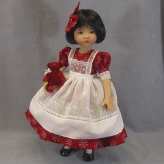 Christmas Snowflakes (I Dream of Jeanne Marie) Tags: dianna effner doll dress red white christmas pinafore 13