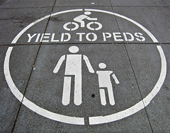 photo - Yield to Peds (Jassy-50) Tags: photo sanfrancisco california street lookdown sign pictogram pictograph blackwhiteincolor embarcadero