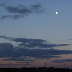 Wind Turbines and Moon Over Druridge Ponds (Gilli8888) Tags: druridgeponds druridge northumberland northeast countryside nikon p900 sky clouds wetlands turbines windturbines landscape moon lunar dawn sunrise explore coolpix