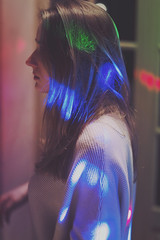 New Year's lights (Aël Creis) Tags: photography art portrait girl friend newyear party lights blue red green
