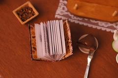 Confessions of a Chocolatier (GreenEyes87)) Tags: polymerclay polymerclaycake cake miniaturebook book miniature dollhouse miniatures miniaturebooks library doll literarygift dollhouseminiature minibook chocolate coffee chocolatbookseries chocolatseries chocolateshop chocoholic