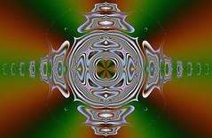 JLF0515 Rainbow Shamrock (jlfractal) Tags: green red orange multicolour rainbow shamrock geometry sterling fractal fractalart julofi