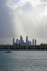 Rainy day in Dubai (domit) Tags: dubai uae rainy day thepalm atlantis beach skyline clouds sun rays