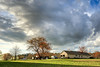 Late afternoon - Anderson S.C. (DT's Photo Site - Anderson S.C.) Tags: canon 6d 1740mml lens andersonsc upstate rural country southern america usa southcarolina hdr photomatix tonemapped scenic landscape clouds yard color february 2018 spring blooms blossoms white red