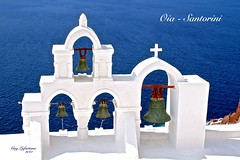 OIA CITY on SANTORINI GREEK ISLAND (Guy Lafortune) Tags: océan eau acqua agua mar mare water mer bleue blue sea église clocher cloche church tower bells oia santorini greek island île grec grèce greece autumn automne europe europa vacance architecture aquitectura vacation holidays cloches bell chiesa croix cross