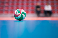 Volley (Laurent Mayet) Tags: volleyball ballon ball volley sport balle jeuxolympiques olympicgames jeu game globe bleu sphère global vert graphique minimaliste bokeh flou rouge