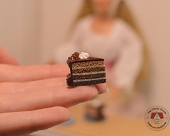 Miniature Chocolate Cake Slices for Barbie (thedaintyhouse) Tags: miniature dollhouse barbie 16th chocolate cake