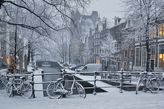 Snow covers the Leliegracht in Amsterdam (B℮n) Tags: holland netherlands nederland bike snow covered bikes bicycle canals winter cold street anne dutch people scooter gezellig cafés snowy snowfall atmosphere colorful walk walking cozy light corner water canal weather cool sunset celcius mokum grachtengordel unesco world heritage sled sleding slee seagull nowandthen meeuw bycicle 1°c sun sneeuw brug slippery glad flakes handheld wind amsterdam colours colors jordaan astoriabuilding prinsengracht leliegracht 50faves topf50 100faves topf100