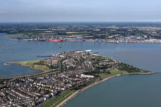 Flying over Harwich towards Felixtowe docks - aerial image