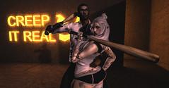 Creep it realz (☢.:Myth:.☢) Tags: secondlife sl friends glow neon bat pose dark creep