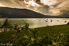Lake of SantaCroce (paolotrapella) Tags: lake lago santa croce sky clouds cielo montagna verde boats barche water acqua