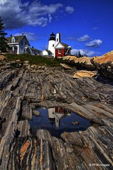 Pemaquid Point Lighthouse (pandt) Tags: mainecoast pemaquidpoint lighthouse light maine coast coastal reflection outdoor ocean sea seaside rocks sky trees flickr clouds blue white red canon eos 7d slr
