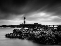 Buchan Ness lighthouse (burnsmeisterj) Tags: em1 buchannesslighthouse aberdeenshire scotland sea waves lighthouse rocks sky clouds mono monochrome blackandwhite omd olympus