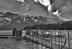 Black And White Sunset On Jackson Lake (Dan9900) Tags: black white bnw blackandwhite jacksonlake jackson lake lakes dock docks boat boating water nature outdoors outside wyoming teton tetons beautiful travel park parks outdoorsman dan sproul mndphoto