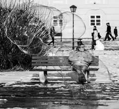 In The Bubble (CoolMcFlash) Tags: candid street streetphotography bnw blackandwhite bw monochrome person soap bubble vienna fujifilm xt2 sw schwarzweis wien fotografie photography xf 18135mm f 3556r lm ois wr citylife