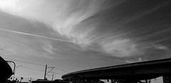 The darkness crashed down in waves.  We couldn't stand up. (helioshamash) Tags: losangeles monochrome black white freeway overpass sky urbanlandscape powerlines