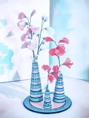 Sweet Pea Pastel (Steve Taylor (Photography)) Tags: sweetpea vase pot plate art digital pottery pastel highkey blue pink red white uk gb england greatbritain unitedkingdom london texture shadow hallplace