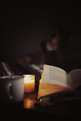 Tea, Book and Candle (Jutta Bauer) Tags: candle tea book indoors winter cozy lowkey still