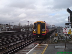 159016 (Rob390029) Tags: 159016 swt south west trains class 159 train track tracks rail rails travel travelling transport transportation transit public clapham junction railway station clj london red colour colours colourful