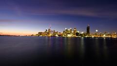 color night of Toronto city (1-2-3 cheese) Tags: toronto nightphoto lake fujixt1 rockinon 12mm color sunset