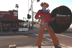 Old Town Scottsdale (Prayitno / Thank you for (12 millions +) view) Tags: konomark cowboy sign cardboard cutout old town historic district scottsdale aa arizona townsite site restaurant outdoor patio day time street road junction