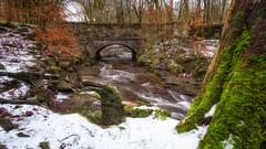 A bridge too far... (Lee~Harris) Tags: bridge snow tree landscape colourful orange winter river contrast g80 lancashire weather flow serene tockholes scene roddlesworth