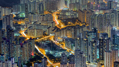 ELECTRIC CITY (Ewout Pahud de Mortanges) Tags: hong kong hongkong cityscape kowloon canon canonasia hiking light lights lighttrails nightshot buildings mountain electric city asia china high angle view building road